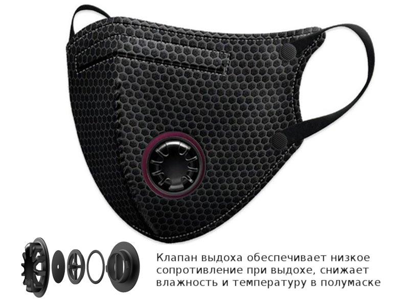 Защитная маска Барьерный Риф Japan NF BFE более 99,9% защиты, анатомическая, трехслойная с клапаном