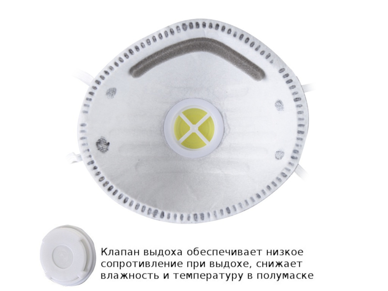 Защитная маска FIT 12292М 3-х слойная класс защиты FFP1 (до 4 ПДК) - с угольным фильтром и с клапаном