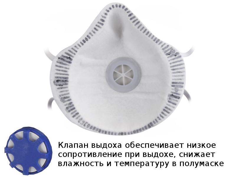 Защитная маска СибрТех 89246 класс защиты FFP1 (до 4 ПДК) с клапаном выдоха + угольная